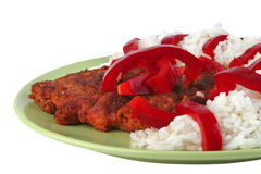 Roast meat with rice and pepper Royalty Free Stock Photography