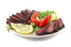 Roast meat served Stock Photos