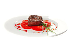 Roast meat served on plate Royalty Free Stock Images