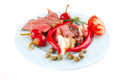 Roast meat slices on plate Stock Photography