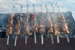 Roast the meat of young pigs on a spit Royalty Free Stock Images
