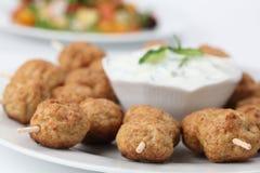 Roast Meatballs On Skewers And Tzatziki Stock Images