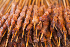 Roast mutton cubes on a skewer Royalty Free Stock Images