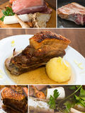 Roast pork collage Royalty Free Stock Photo