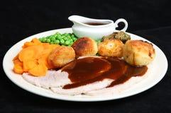 Roast Pork Dinner with Gravy Royalty Free Stock Photos