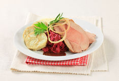 Roast Pork, Dumplings And Red Cabbage Royalty Free Stock Photos