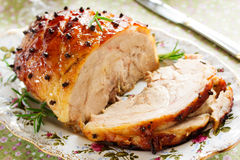 Roast pork with orange glaze, Royalty Free Stock Photos