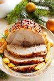 Roast pork with orange glaze, Royalty Free Stock Photo