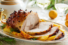 Roast pork with orange glaze, Royalty Free Stock Image