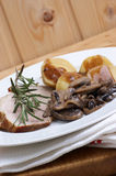 Roast pork with potato and mushrooms. Some roast pork with potato and mushrooms royalty free stock images
