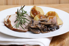 Roast pork with potato and mushrooms. Some roast pork with potato and mushrooms stock photos