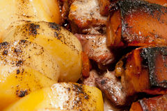 Roast pork and potatoes Stock Images