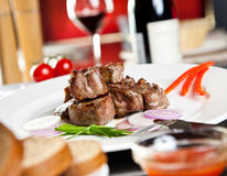 Roast pork, red wine Royalty Free Stock Photo