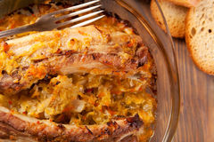 Roast Pork Ribs with Cabbage. Oven baked Pork Ribs with Cabbage Royalty Free Stock Photos