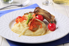 Roast pork ribs and mashed potato Royalty Free Stock Photography
