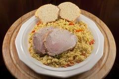 Roast Pork with Rice Stock Photo