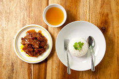 Roast pork with rice and soup. Royalty Free Stock Photography