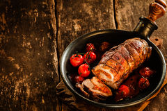 Roast Pork Roll Stuffed with Grilled Vegetables Stock Photos