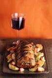 Roast pork with sage and thyme sauteed potatoes Stock Photos