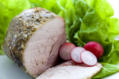 Roast Pork and salad vegetable Royalty Free Stock Photo