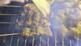 Roast Pork Satay on oven, Thailand's famous cuisine stock video
