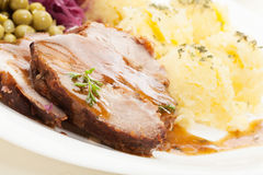 Roast pork with sauce. Selective focus royalty free stock photos