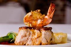 Roast pork and shrimp dish Royalty Free Stock Images