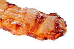 Roast pork In skewer isolated on white background and clipping path.  Royalty Free Stock Photography