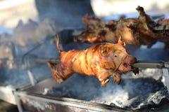Roast pork on the skewer