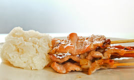 Roast Pork with sticky rice Stock Photography
