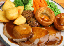 Roast Pork Sunday Dinner Royalty Free Stock Images