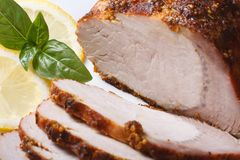Roast pork tenderloin and lemon on a white plate close-up. Tasty juicy roast pork tenderloin and lemon on a white plate. Horizontal close-up Royalty Free Stock Images