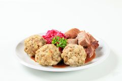Roast pork with Tyrolean dumplings and red cabbage Royalty Free Stock Image