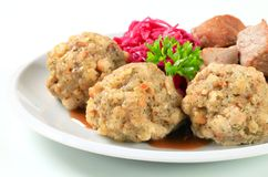 Roast pork with Tyrolean dumplings and red kraut Royalty Free Stock Photo