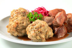 Roast pork with Tyrolean dumplings and red kraut Stock Image