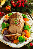 Roast pork with vegetables Stock Image