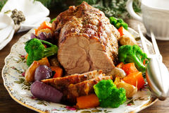Roast pork with vegetables Royalty Free Stock Images