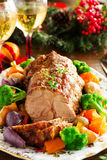 Roast pork with vegetables Royalty Free Stock Image