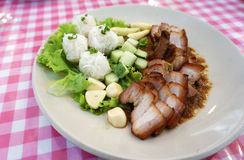 Roast pork with Vermicelli and fresh vegetable Royalty Free Stock Photography