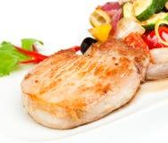 Roast pork on the white Stock Photos