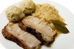 Roast port with pickled cabbage and dumpling Royalty Free Stock Photo