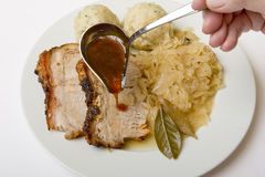 Roast port with pickled cabbage and dumpling Royalty Free Stock Images
