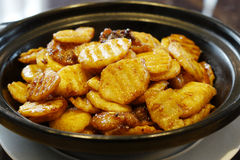 Roast potatoes. Chinese cuisine ,roast potatoes in the dish stock images