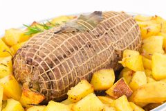 Roast and potatoes Royalty Free Stock Photos