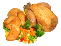 Roast Poussin Chicken Dinner Royalty Free Stock Photography