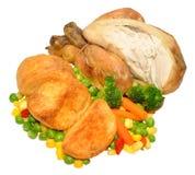 Roast Poussin Chicken Dinner Stock Photo