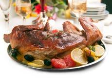 Roast rabbit stock photo