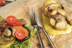 Roast Rabbit Meat Served Stock Photography