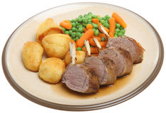 Roast Rack of Lamb Dinner Stock Photos