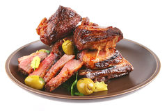 Roast ribs on dish Royalty Free Stock Photography